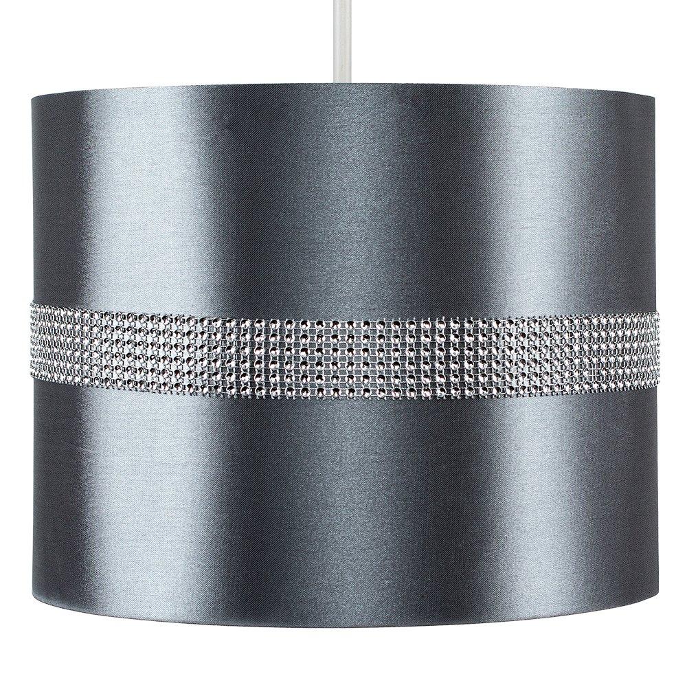 MiniSun Abat-Jour pour Suspension ROLLER Design Contemporain Cordon /électrique Non-Fourni Tambour Finition en Tissu NOIR D/écor/é avec Diamante