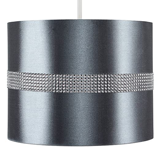 Modern decorative grey and silver diamante jewel effect polycotton modern decorative grey and silver diamante jewel effect polycotton rolla cylinder ceiling pendant drum light shade aloadofball Image collections