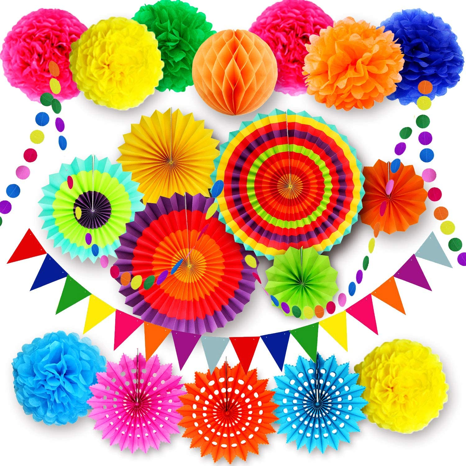 Fiesta Party Decorations Supplies, Multi-Color Hanging Paper Fans, Pom Poms Flowers, Garlands String Polka Dot, Triangle Bunting Flags for Birthday Parties, Wedding Decor, Fiesta or Mexican Party