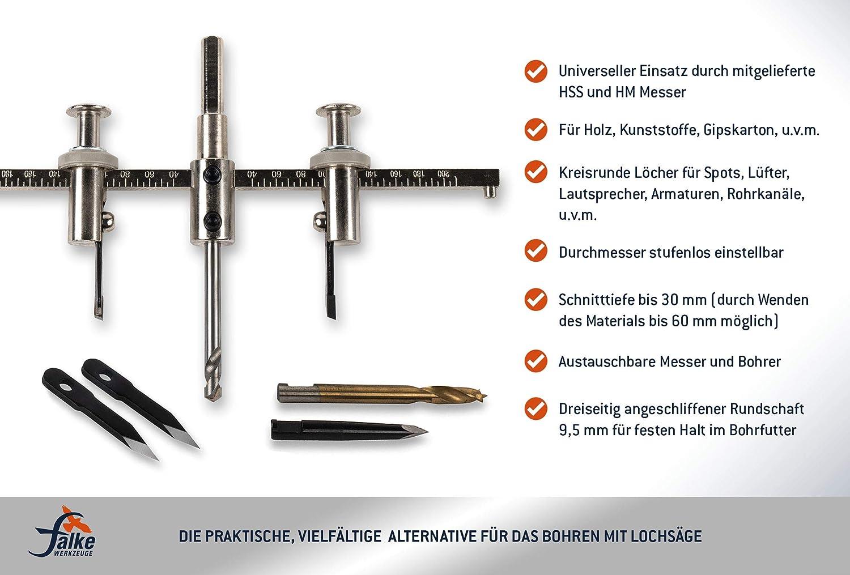 30-120 mm Kreisschneider Lochsäge Lochschneider Rundschneider f Gipskarton