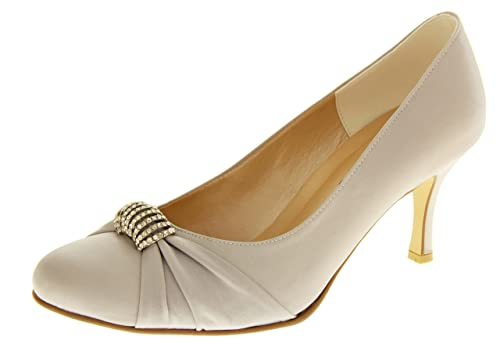 f596bc0108a9e Footwear Studio Sabatine Womens Satin Diamante Buckle Wedding Shoes