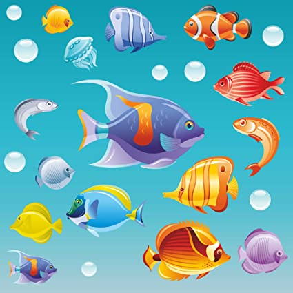 Large Set Tropical Fish Double-Sided Static Cling Window Stickers