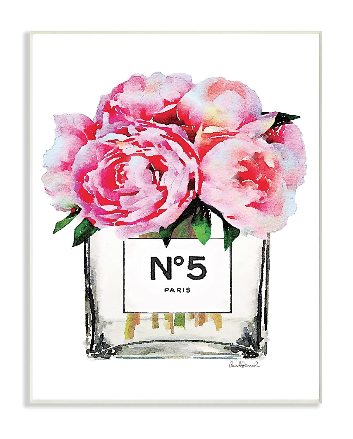 Stupell Industries Glam Paris Vase with Pink Peony XXL Stretched Canvas Wall Art Proudly Made in USA