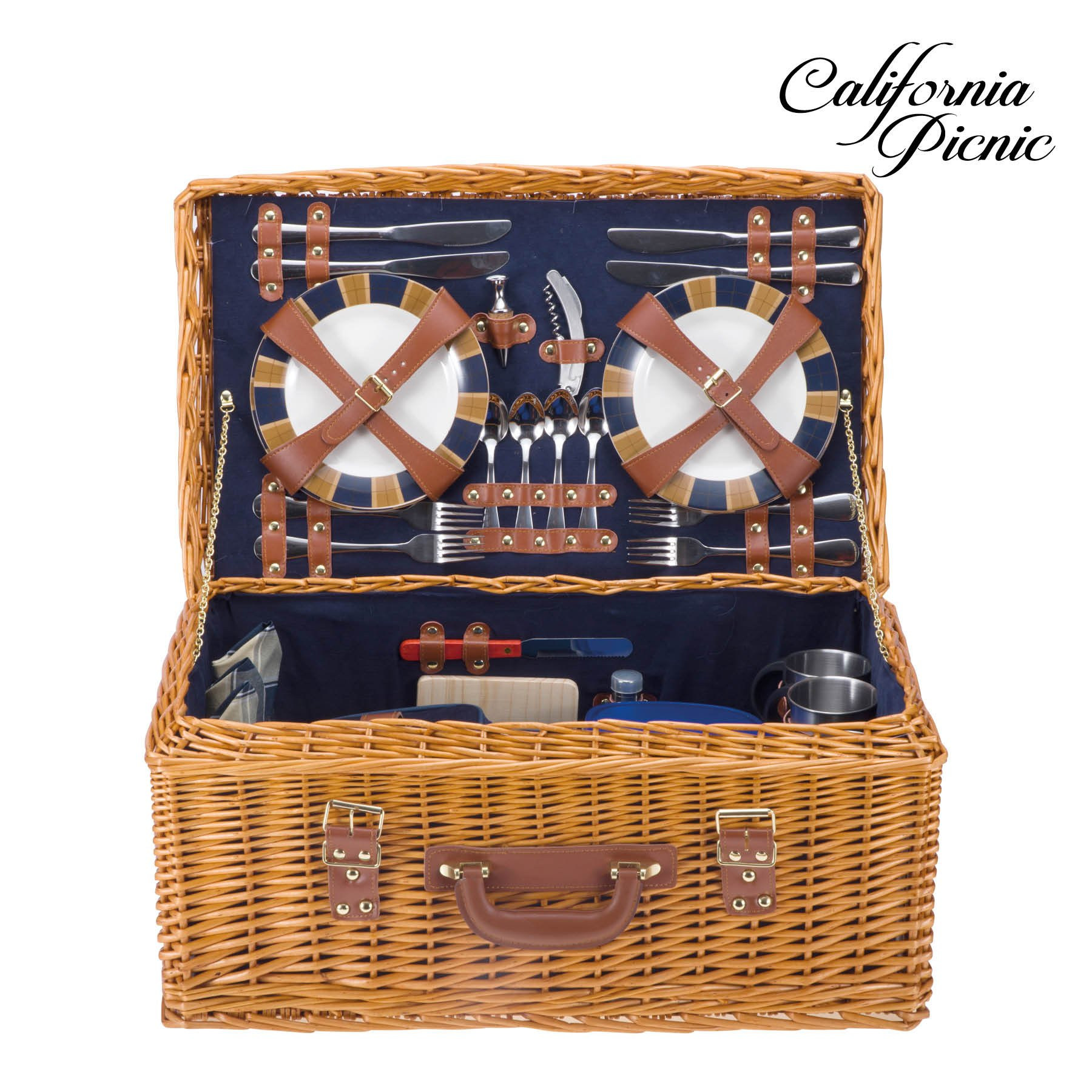 Picnic Basket Set DELUXE | Marshall Collection | 4 Person Coffee Service Set | Picnic Hamper Set Waterproof Picnic Blanket Ceramic Plates Metal Flatware Wine Glasses Bottle Opener | Vacuum Flask by CALIFORNIA PICNIC