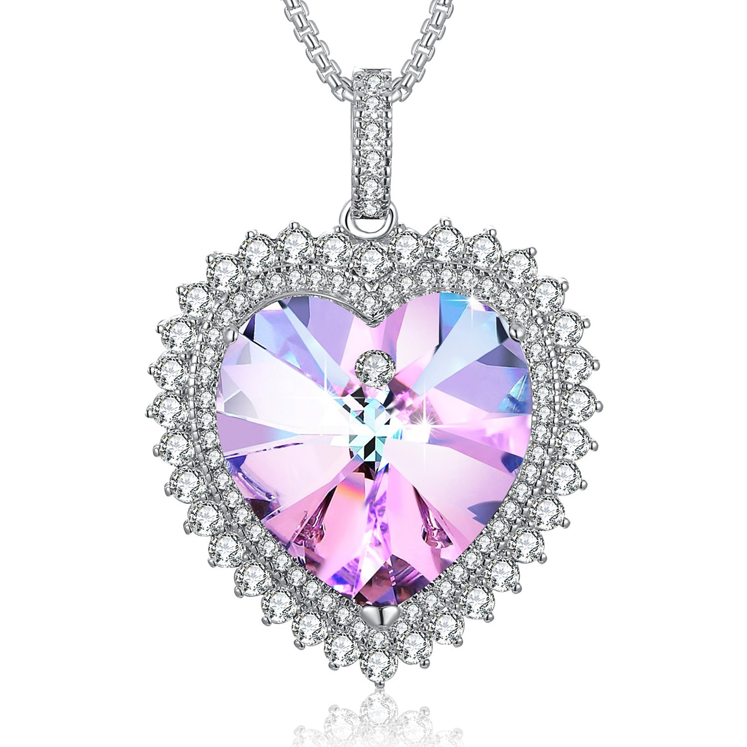 Heart Shape Necklace Mom Gifts Necklace PLATO H Swarovski Elements Crystal Deep Love Heart Pendant Necklace for Women, Best Gft for Her, Hot Pink