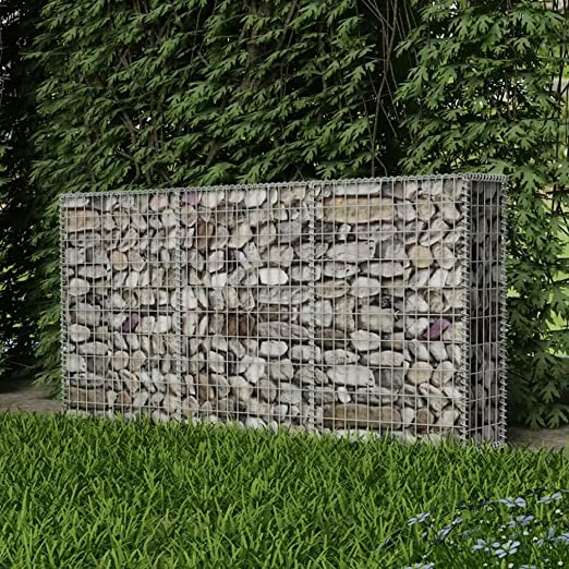 Festnight - Cesta de Piedra para jardín al Aire Libre, gabón, decoración de jardín de Acero, Acero galvanizado, 2 x 30 x 1 m: Amazon.es: Jardín
