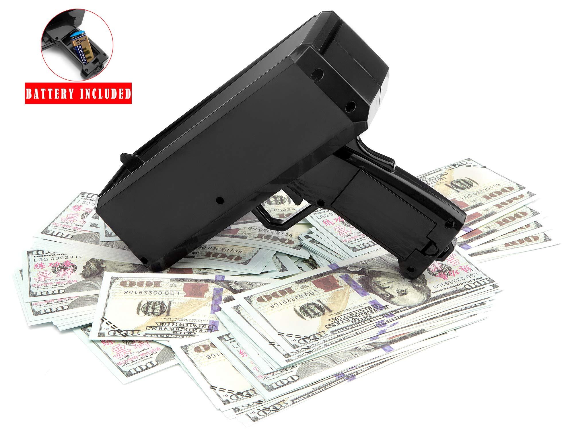 Wowok Black Money Gun with 10,000$ Fake Money, Super Money Guns Paper Playing Spary Money Gun Make it Rain Toy Gun Cash Gun for Game Party Supplies(Battery Included) by Wowok (Image #7)
