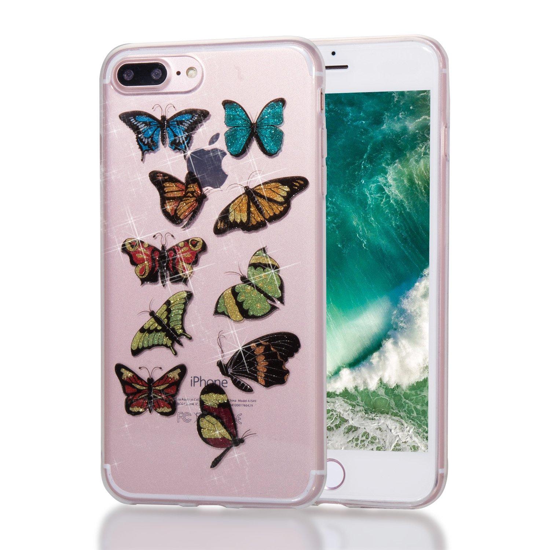 iPhone 7 Plus / 8 Plus Funda Alfort Carcasa iPhone 7 Plus / 8 Plus Transparente Case Cover Con Polvo de Flash Carcasa Silicona TPU Suave Protectora Funda para Apple iPhone 7 Plus / 8 Plus ( Arco iris y unicornio ) 1276796-ES