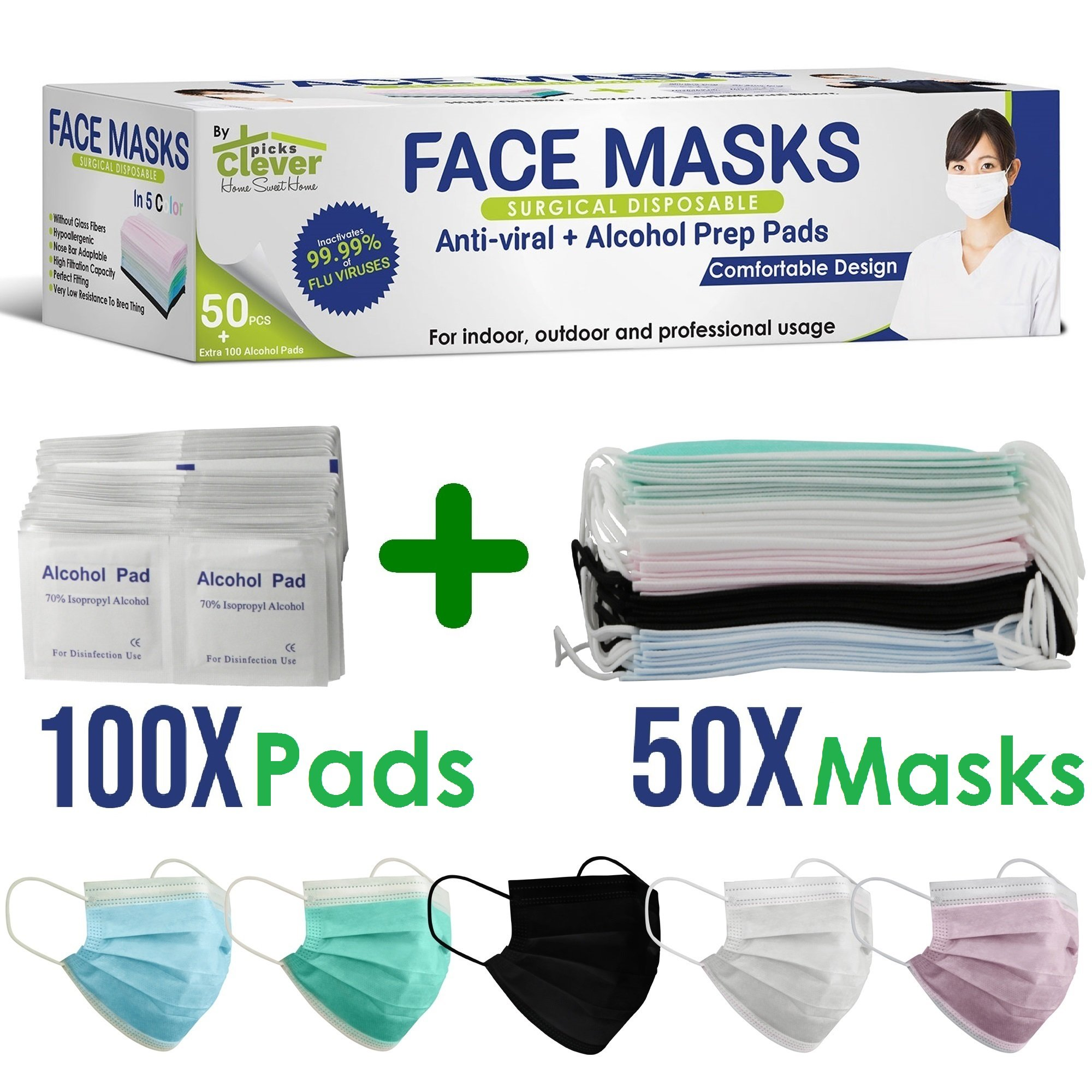Disposable Surgical Allergy Pollen Dust Face Masks | Extra layers Advanced Filter 99.99% Clean air | Outdoor Indoor and Professional use | 50Pcs Masks + 100Pcs 70% Isopropyl alcohol pads | CleverPicks