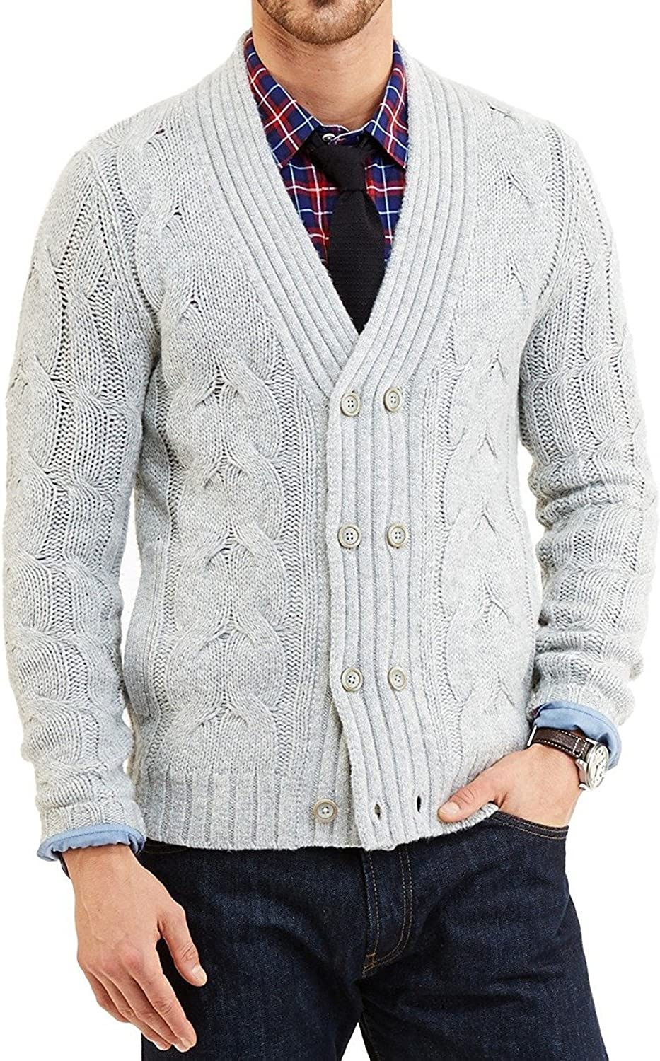Nautica Men's Double Breasted Cable Knit Cardigan Grey