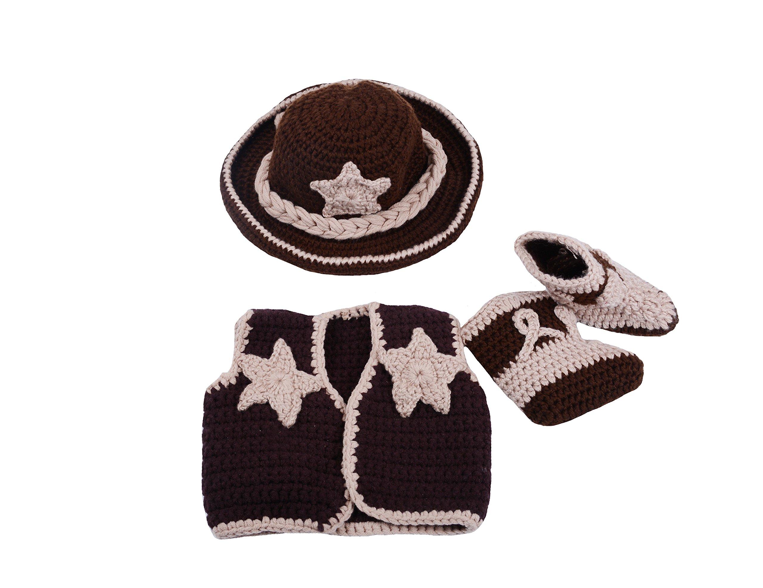 CX-Queen Newborn Baby Photography Prop Crochet Cowboy Hat Boot Diaper Set Costume (Style 4)