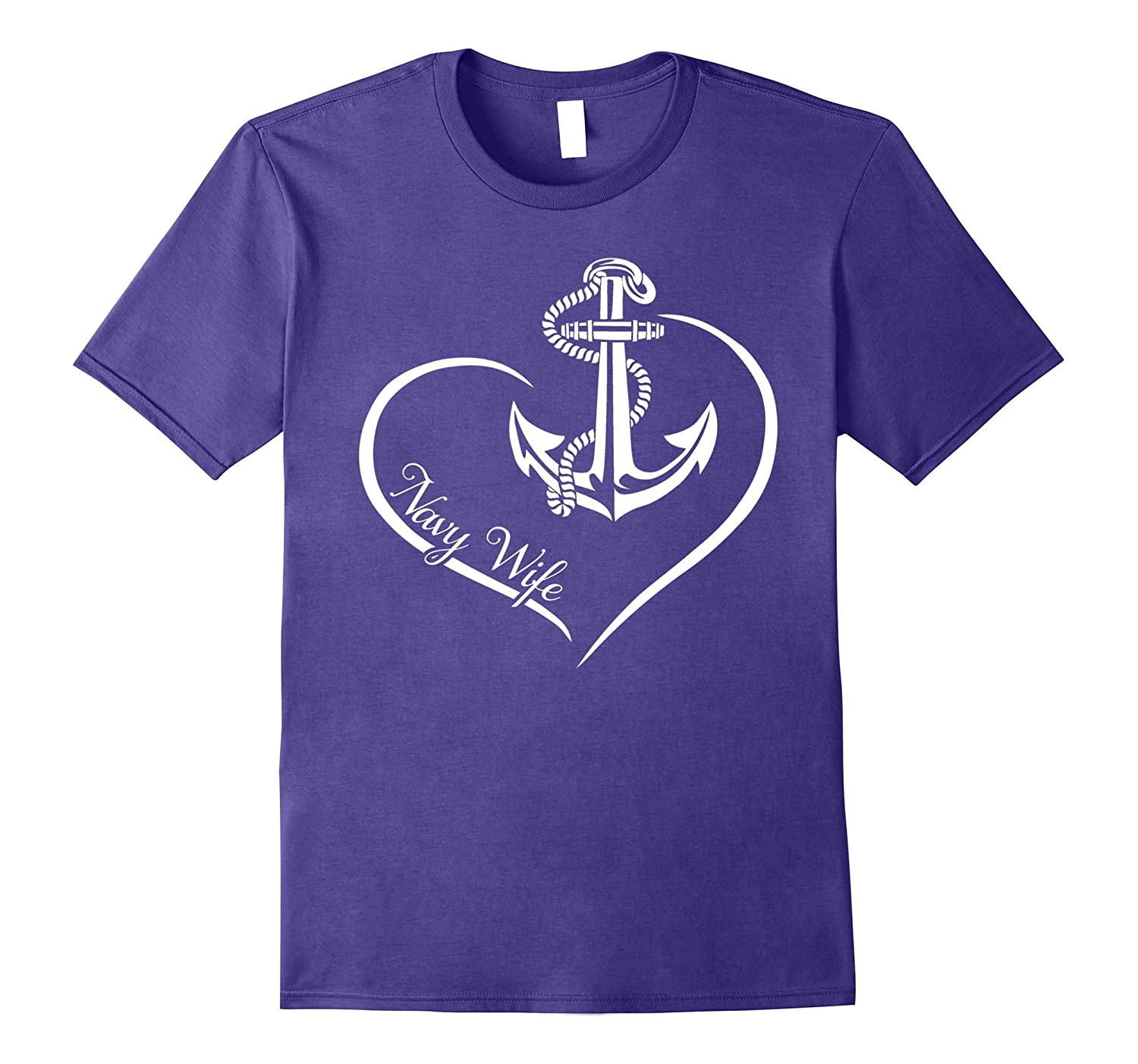 Proudly Cool US Navy Wife Heart Gift T-shirts-ANZ