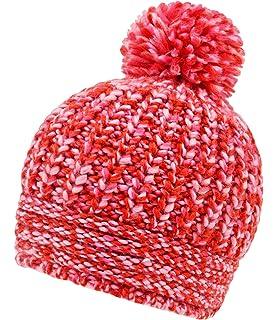 Fiebig Bonnet En Tricot Fille À Pompon Chapeau De Promenade D Hiver Petit  Enfant Mélange 25638a42a53