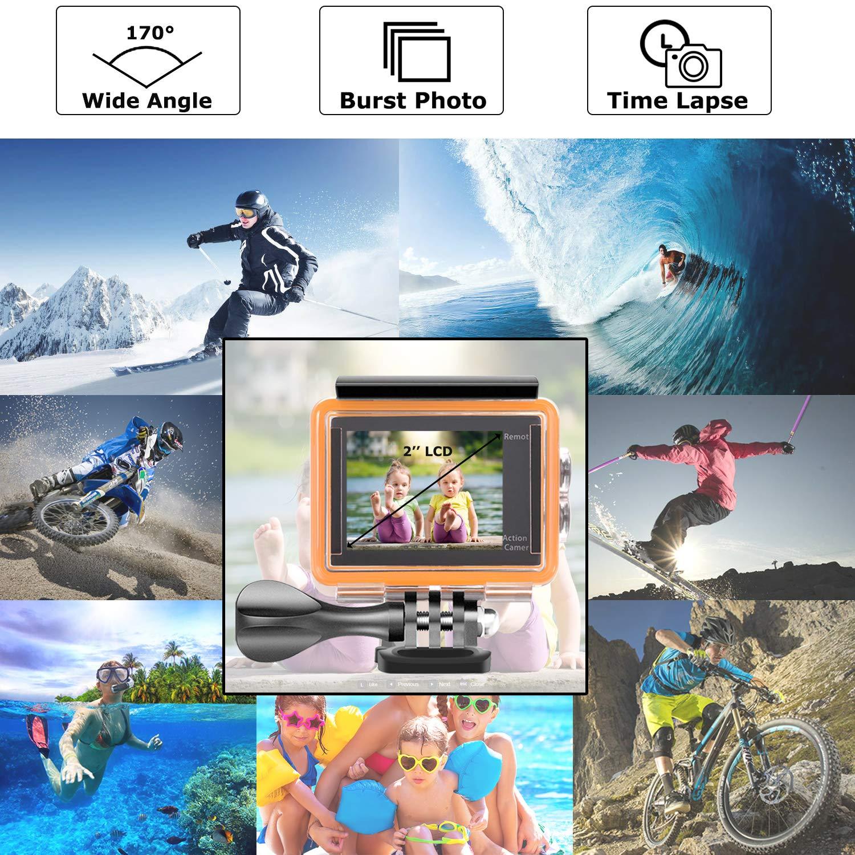 YDI Caméra Sport étanche 4K Wifi 12MP Full HD 1080P Grand Angle 170 ° Caméscope d\'action et sport avec Télécommande + 2 Batteries (Bleu)