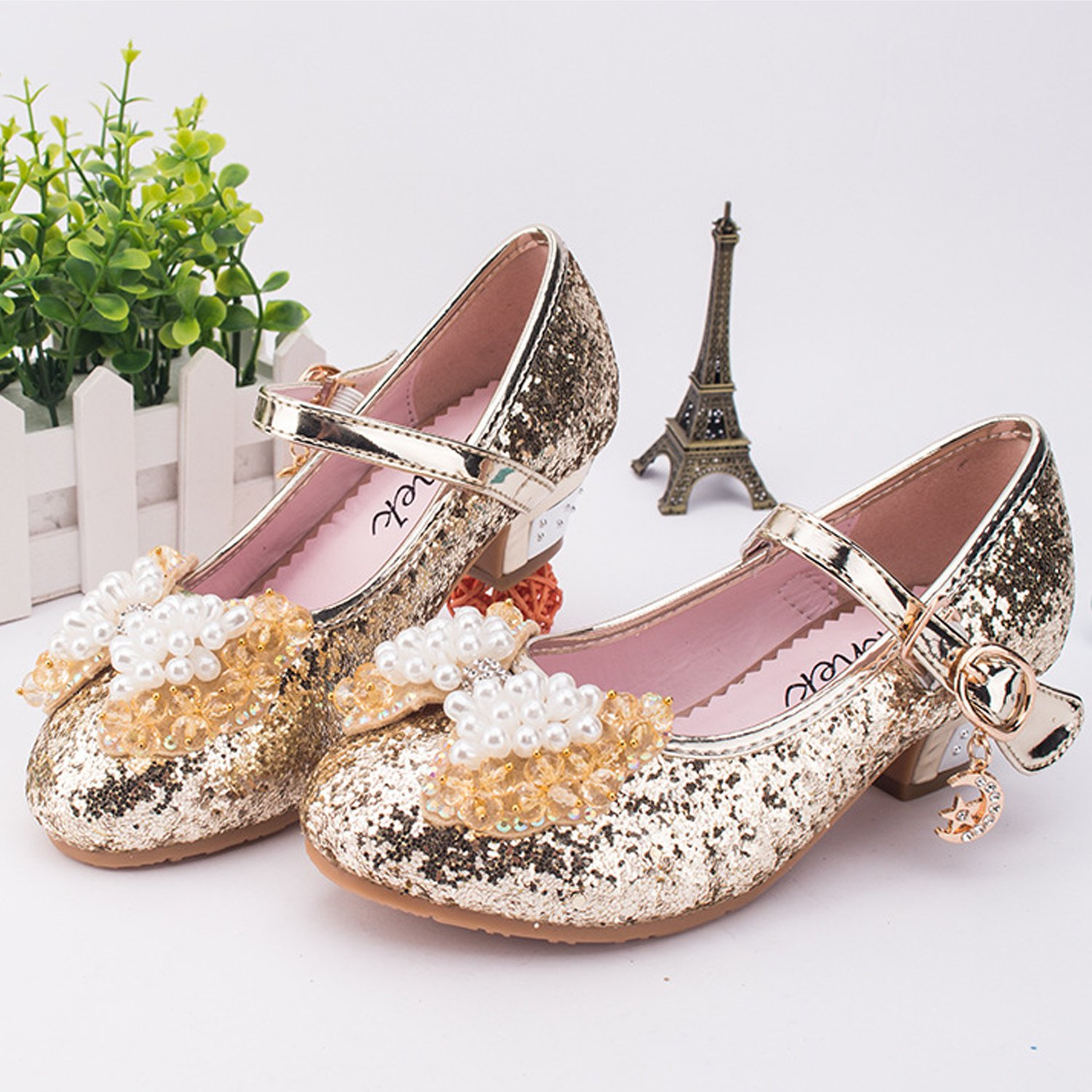 UBELLA Kids Girls Mary Jane Wedding Party Shoes Glitter Bridesmaids Low Heels Princess Dress Shoes