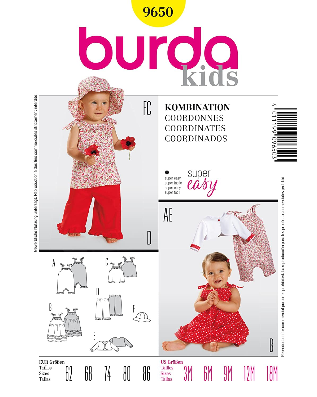 Burda 9650 Schnittmuster Overall TrŠger-Kleid Hose (Baby, Gr, 62 ...