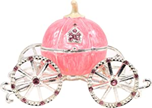 VI N VI Hand Painted Pink Princess Cinderella Pumpkin Carriage Trinket Box, Jewelry Box with Detachable Pumpkin/Hand Painted Collectible Figurine and Decorative Jewelry Display, Holder, and