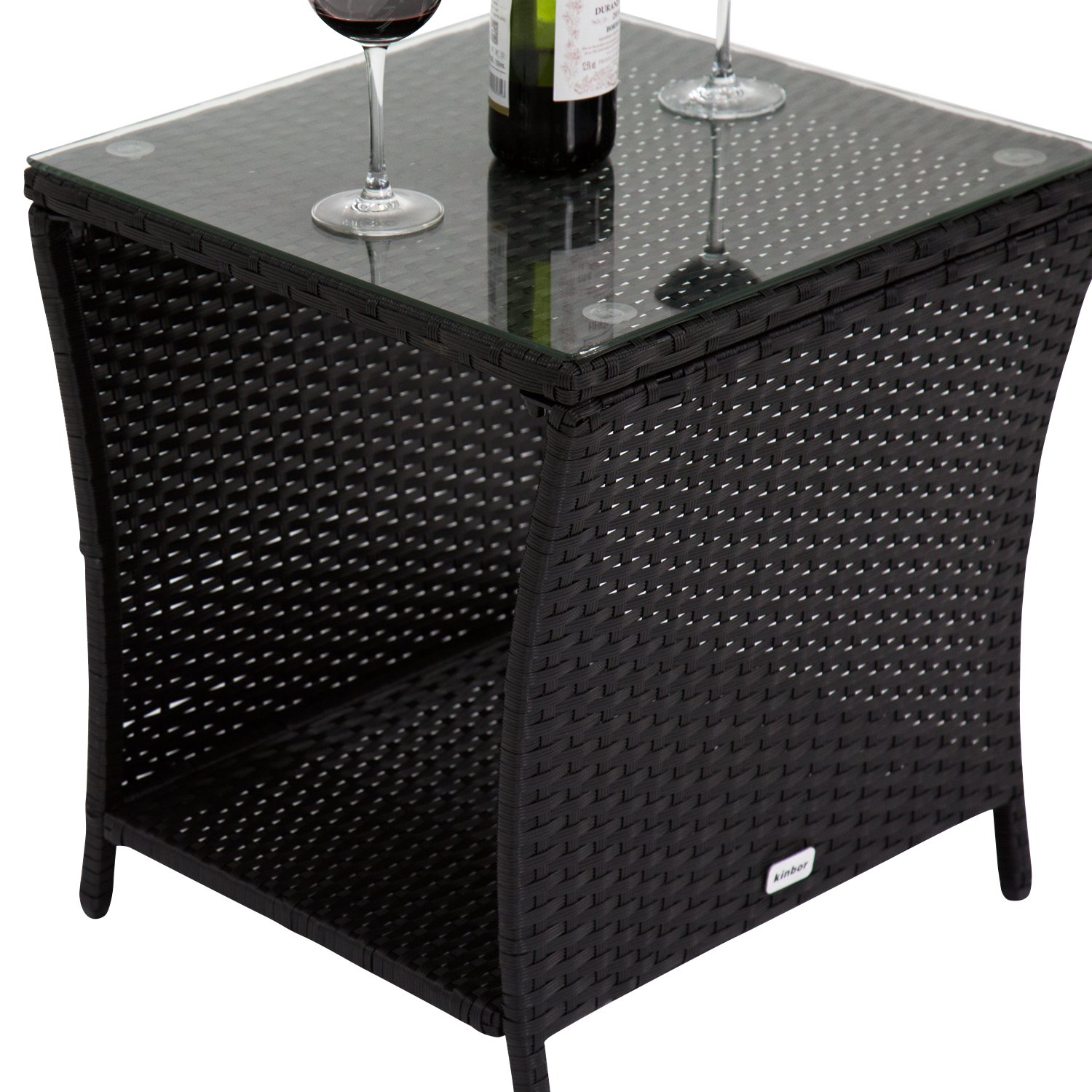 Amazon Kinbor Black Outdoor Square Wicker Rattan Side Tea