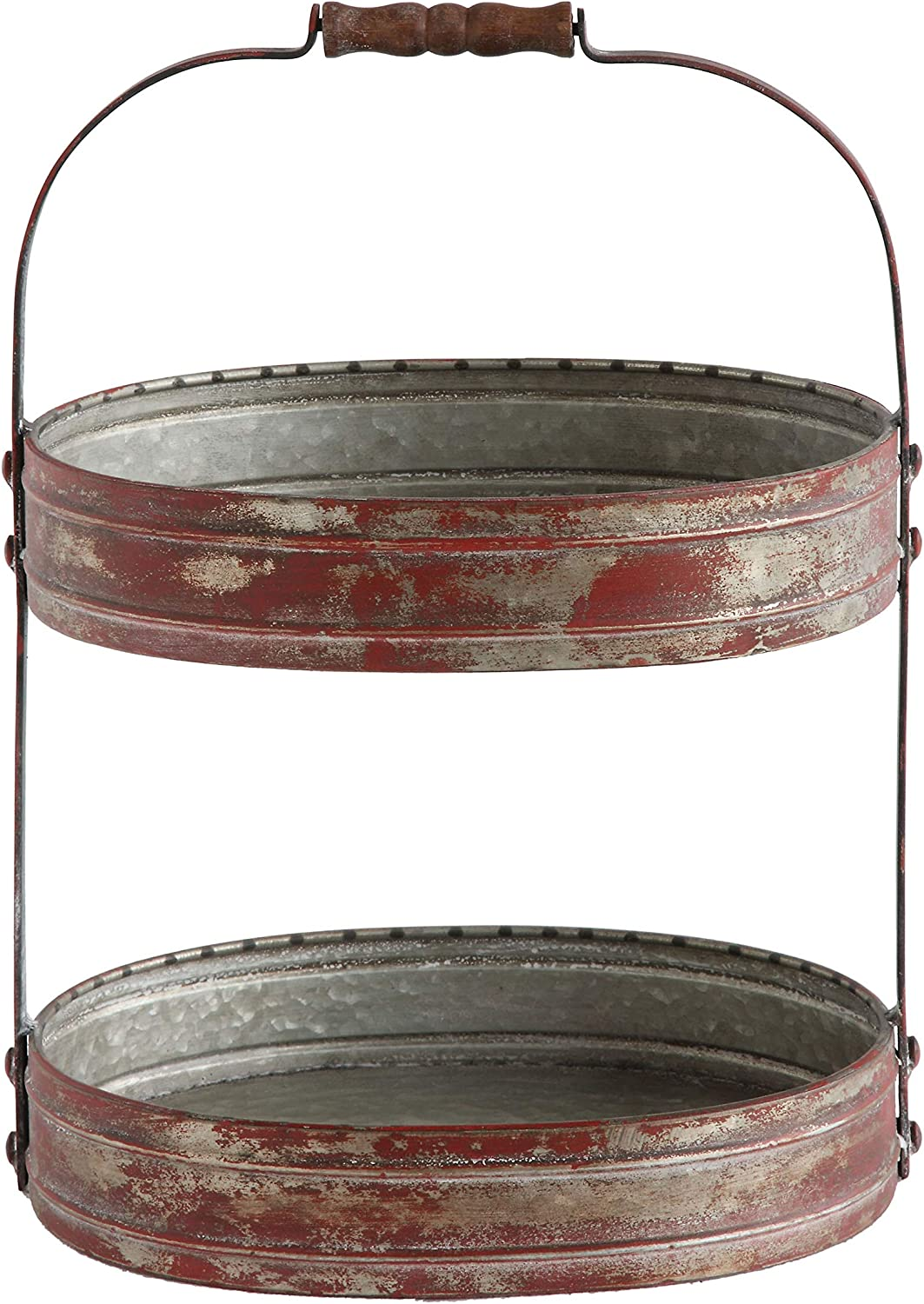 Creative Co-Op Red Metal Oval 2 Tier Tray with Handle: Home & Kitchen