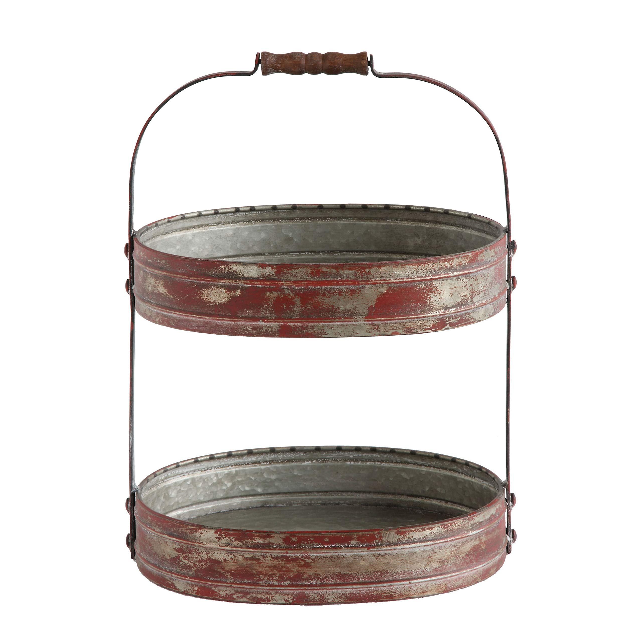 Creative Co-Op Red Metal Oval 2 Tier Tray with Handle by Creative Co-op