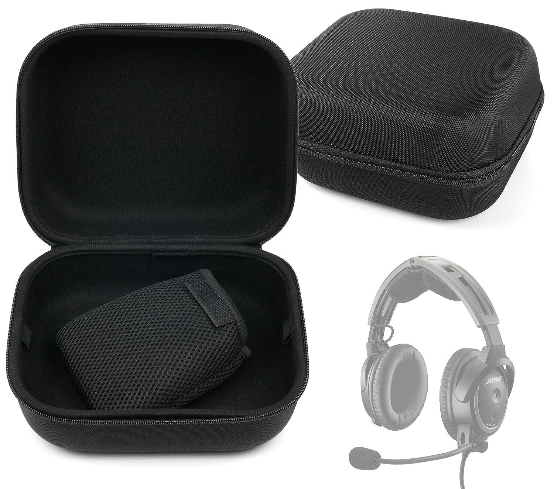 Duragadget Etui Large Rigide pour Casque Pilote Actif ANR Bose A20, Pilot Communications - Noir et Taille XL