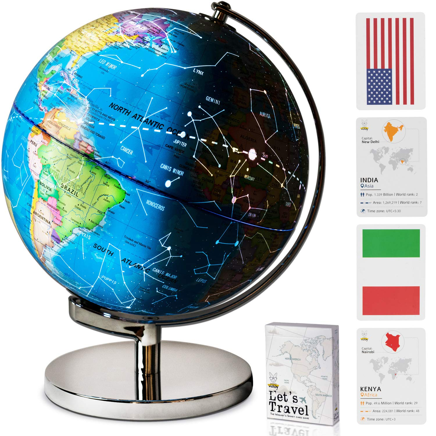 9''Educational LED Illuminated Spinning Children World Globe with Stand Plus a Bonus Card Game. 3 in 1 Interactive Desktop Earth Globe for Kids - Night Light Lamp, Political Map and Constellation View
