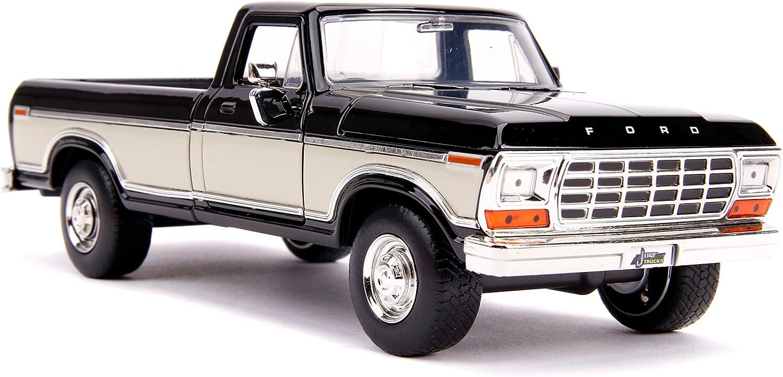 1979 Ford F-150 Pickup Truck Stock Black and Cream Just Trucks 1//24 Diecast Model Car by Jada 31585