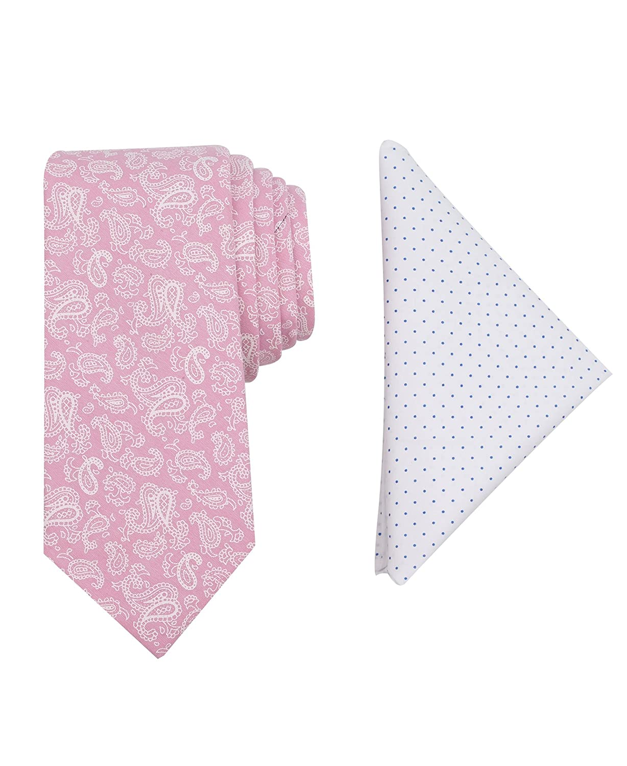 Tallia Men's Slim Tie and Pocket Square Set, Pink, One Size 2TC7-2010