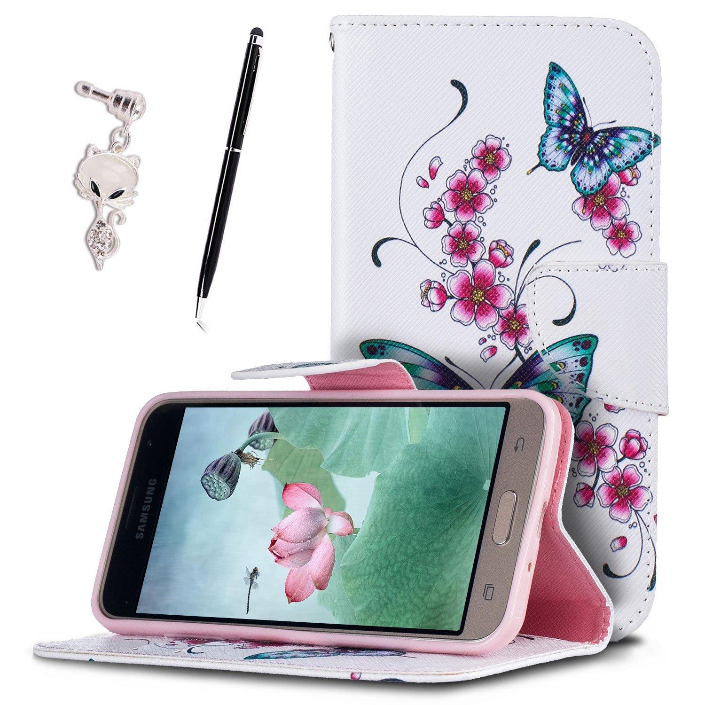 Etui Pour Samsung J3 2016 Anfire Fleur Et Papillon Motif Peint