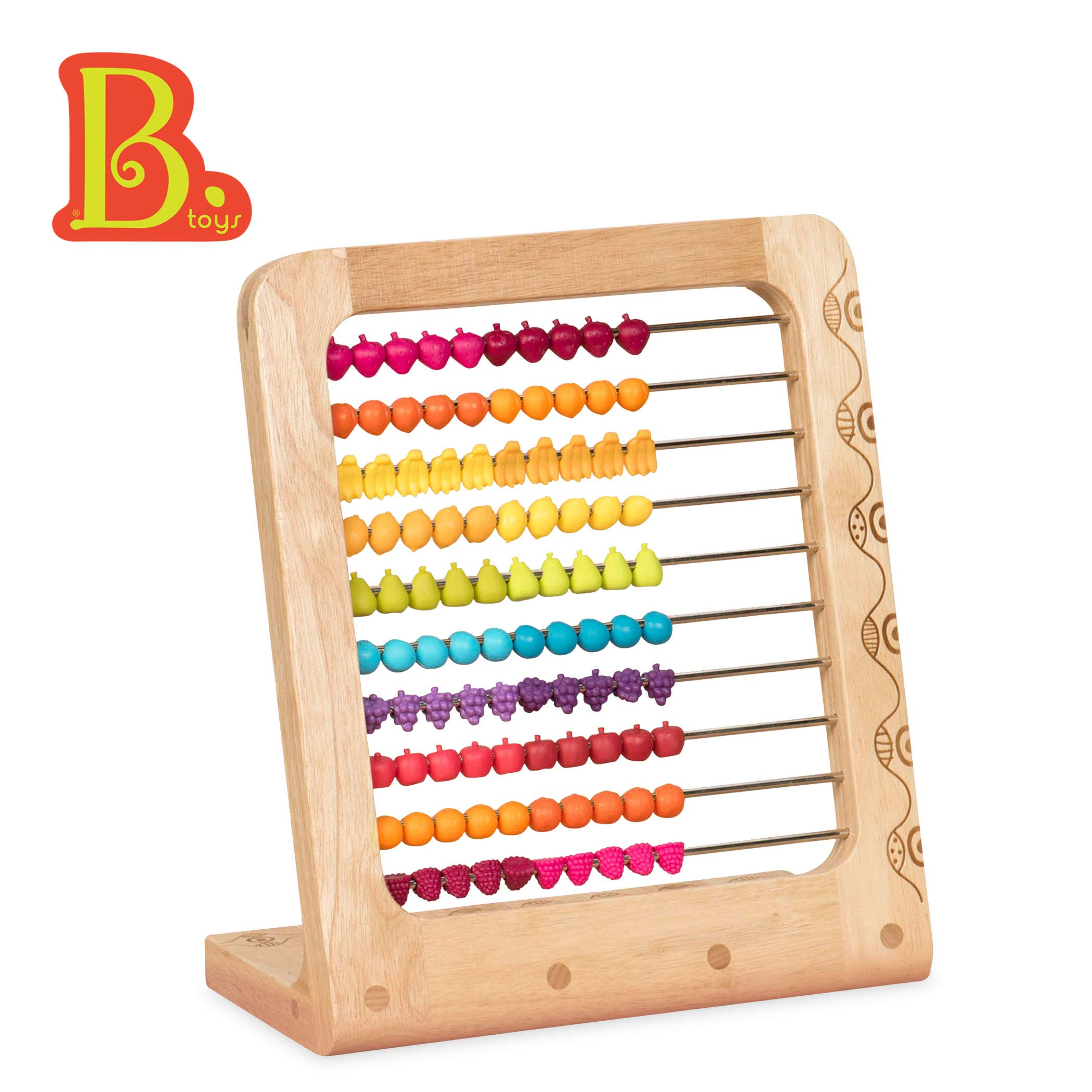 B. toys - Two-ty Fruity! Wooden Abacus Toy - Classic Wooden Math Game Toy for Early Childhood Education and Development with 100 Fruit Beads by B. toys by Battat