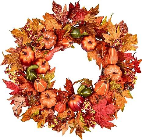 Frontdoor Wreath Autumn Wreath,Fall Wreath Door Decor Pinecone Wreath Thanksgiving Wreath,Pumpkin Wreath Door Wreath Farmhouse Wreath
