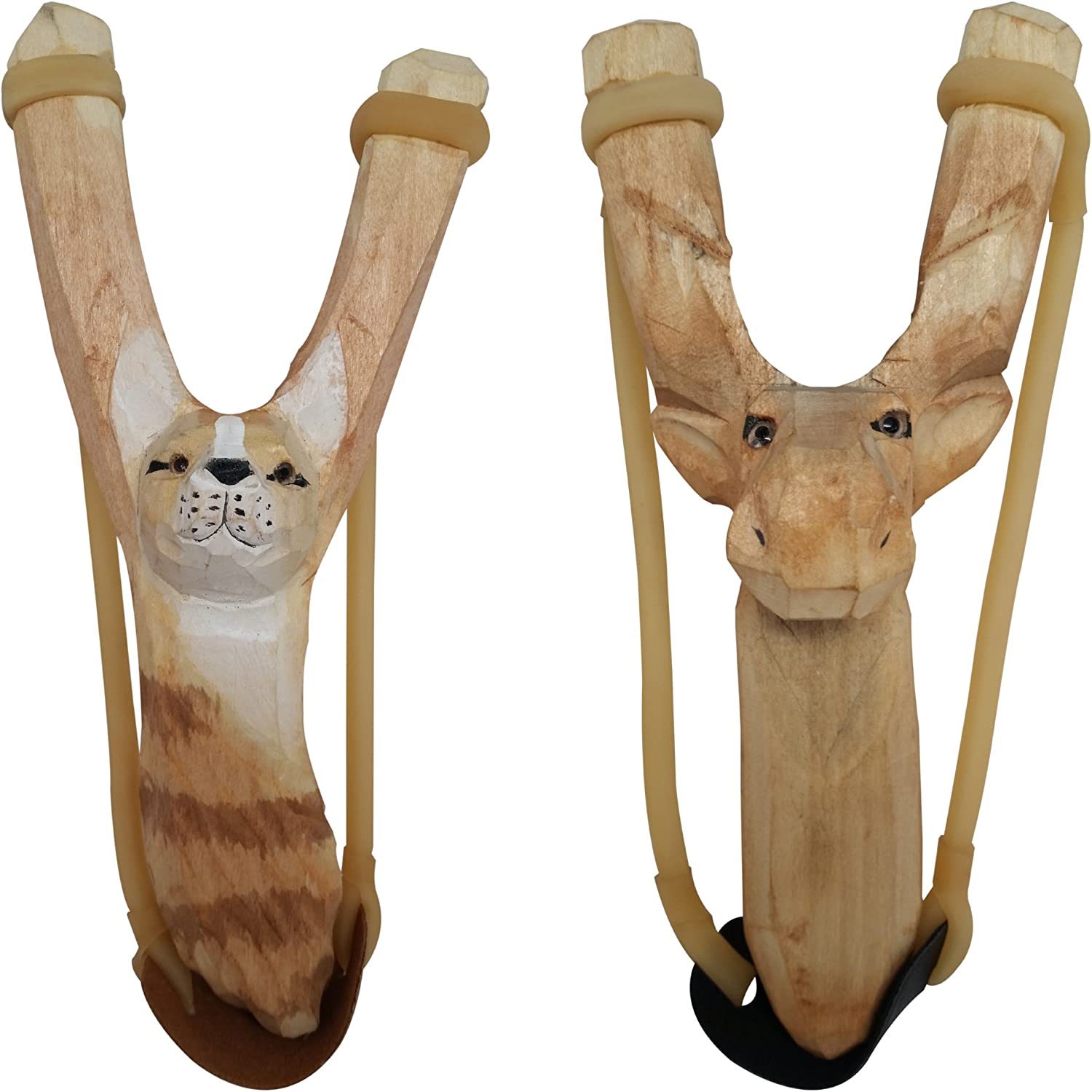 NatureLaunchers 2 Pack - Nature LAUNCHERS - Hand-Carved Wooden Slingshot Lynx and Moose