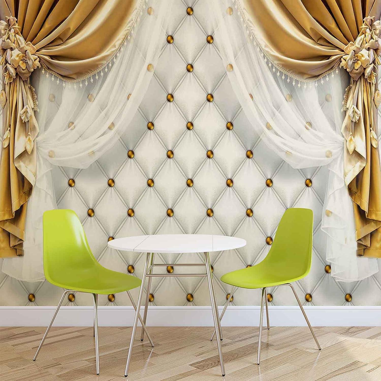 Goldene Vorhänge - Forwall - Fototapete - Tapete - Fotomural - Mural Wandbild - (3558WM) - XXXL - 416cm x 254cm - VLIES (EasyInstall) - 4 Pieces