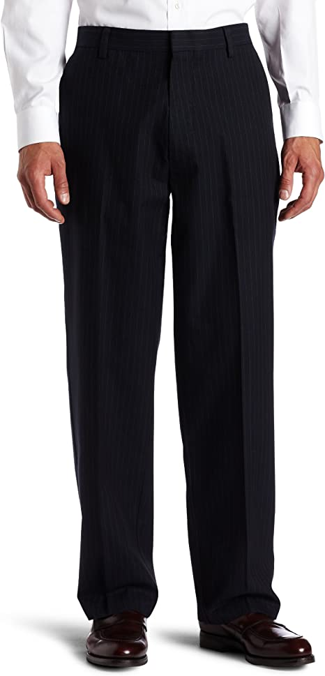 Men Dockers Classic Fit Iron Free Flat Front Dark Gray Stretch Pants D1