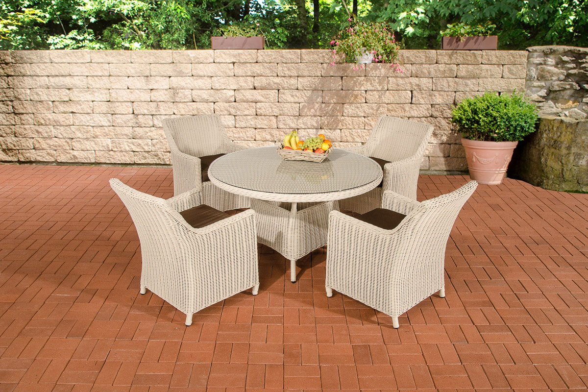 CLP Polyrattan Sitzgruppe BOVINO perlweiß, rundes 5 mm Rattan, Aluminium Gestell (4 x Sessel Sandnes + runder Tisch Ø 130 cm + 10 cm dicke Sitzkissen) perlweiß, Bezugfarbe terrabraun