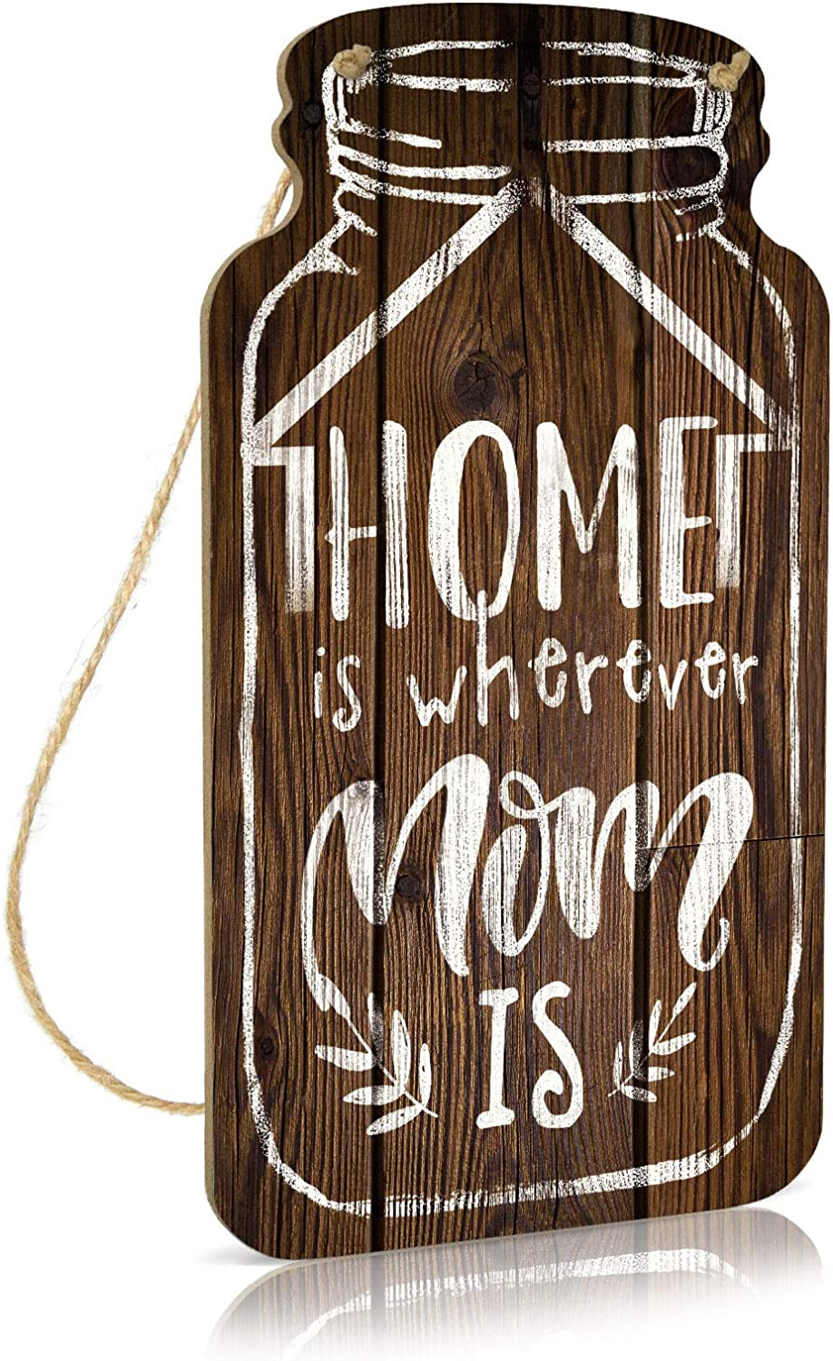 Putuo Decor Mason Jar Sign, Family Wall Decor for Kitchen, Bedroom, Living Room, 8.3x4.5 Inches Country Farmhouse Wood Hanging Plaque Sign, Gift for Mom - Home is Wherever Mom is