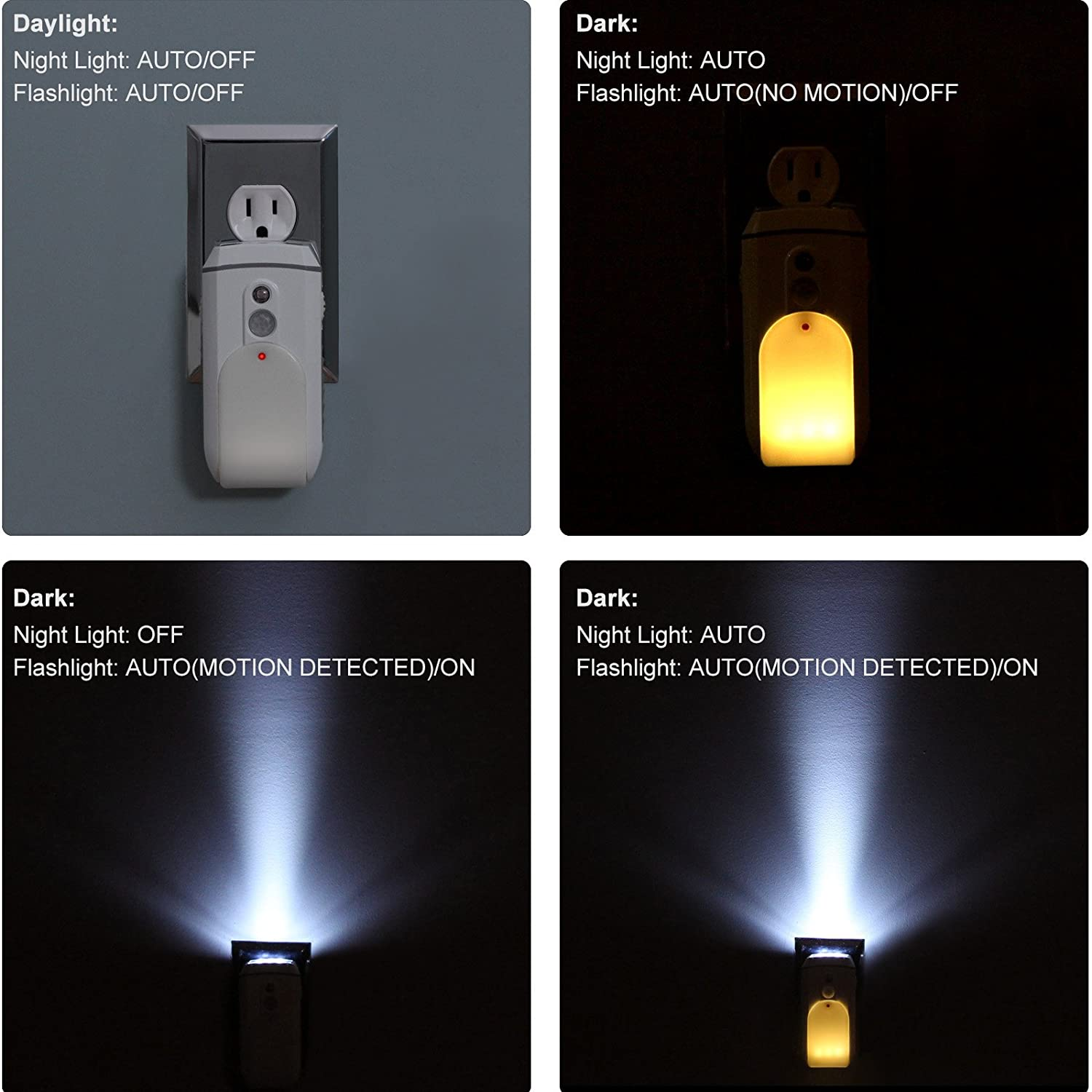 DEWENWILS Rechargeable Plug in LED Flashlight Motion Sensor Night Light
