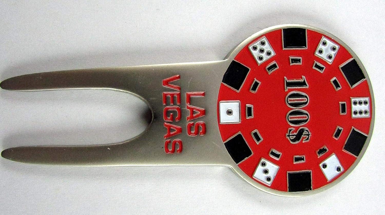 Pacゴルフラスベガスネバダ州Divot修復ツールW /磁気Ballmark $ 100ポーカーチップ   B01MT1FW2B