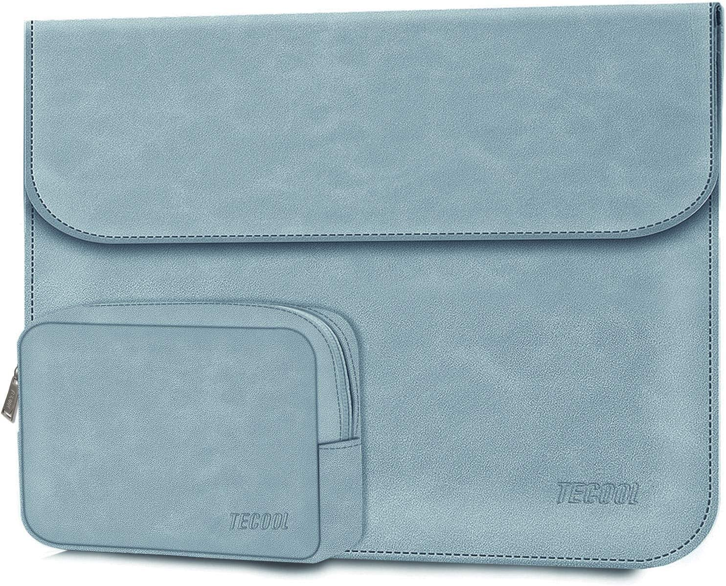 """TECOOL Laptop Sleeve Case with Accessory Pouch for New MacBook Air 13 w/Touch ID 2020 2019 2018 Model A2179/A1932, New iPad Pro 12.9"""", Surface Pro 7/6/X, Dell XPS 13, Faux Suede Leather Light Blue"""