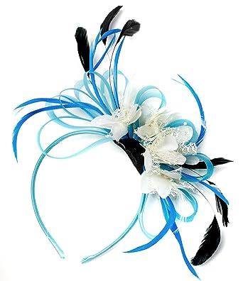af4e6a91ea498 Aqua Cornflower Blue and Cream Net Hoop Feather Hair Fascinator Headband  Wedding Royal Ascot Races  Amazon.co.uk  Clothing