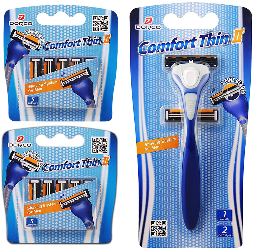 Dorco Comfort Thin II- Two Blade Razor Blade Shaving System (12 Pack + 1 Handle) Dorco
