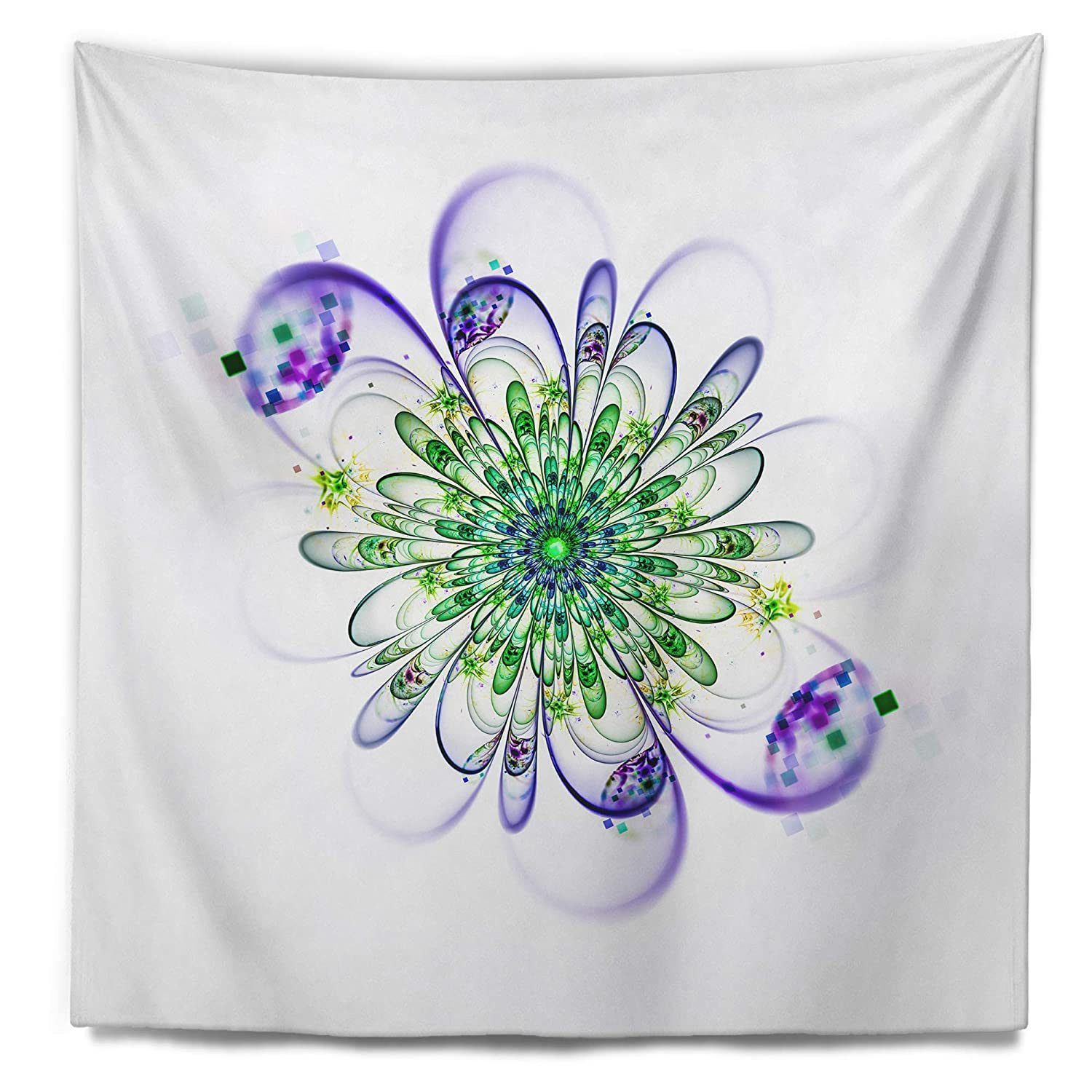 Designart TAP12170-68-80  Fascinating Green Purple Fractal Flower Floral Blanket D/écor Art for Home and Office Wall Tapestry XX-Large 68 x 80
