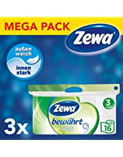 Zewa Toilettenpapier trocken bewährt, weiß, 3-lagig, 3er Pack (3 x 16 Stück)