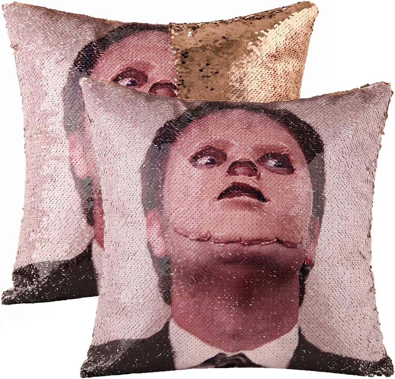 cygnus The Office Dwight Schrute Sequin Pillow Covers Mermaid Magic Reversible Decorative Change Color Pillow Covers 16x16 inch Funny Gag White Elephant Gifts,Champagne Gold