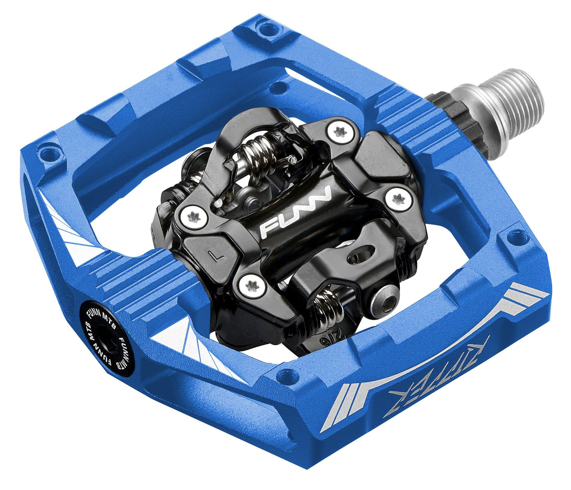 Funn Ripper Clipless Pedal Set, Rocker Clip Mechanism, SPD Compatible (Blue)
