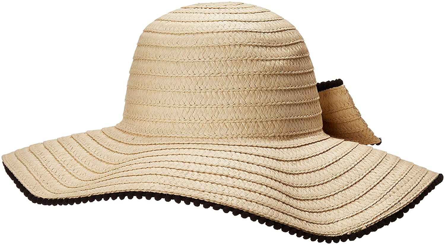 208ca12e1 Betsey Johnson Women's Floppy Hat with Bow & Pom Trim, Natural One ...