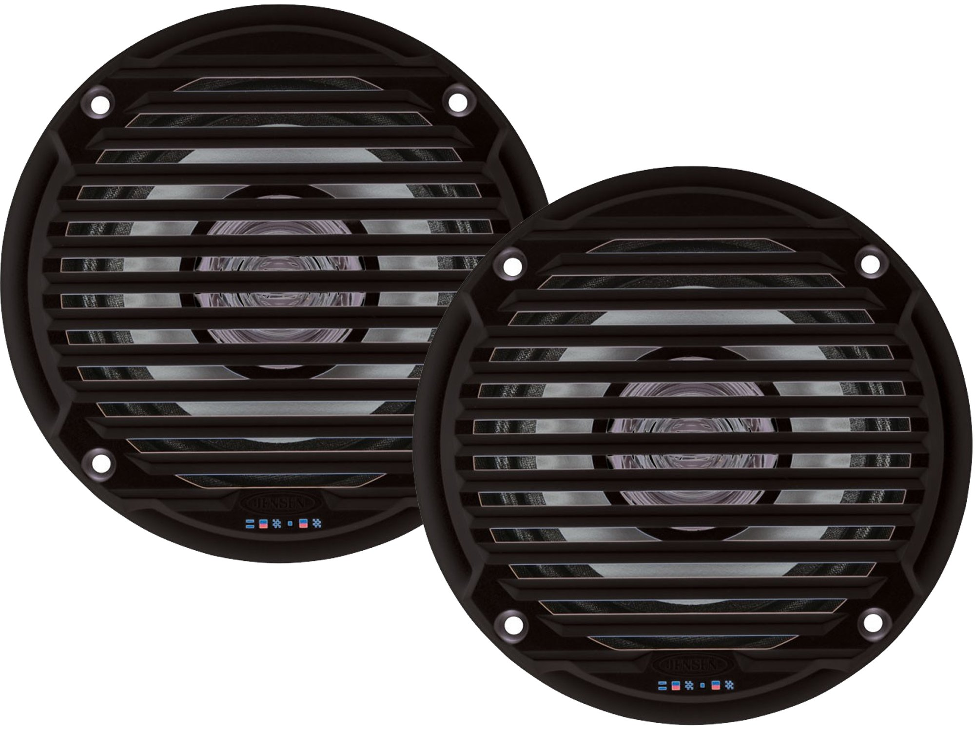 Jensen MS5006BR Pair of MS5006B 5.25'' Black Dual Cone Waterproof Speaker, 30 Watts Max Power Handling, Sensitivity @ 1W/1 Meter 88dB, Frequency Response 65Hz-20kHz, Nominal Impedance 4 Ohms, 5-15/16'' Grille Diameter, 4-3/8'' Mounting Hole Diameter, 1-1/2''