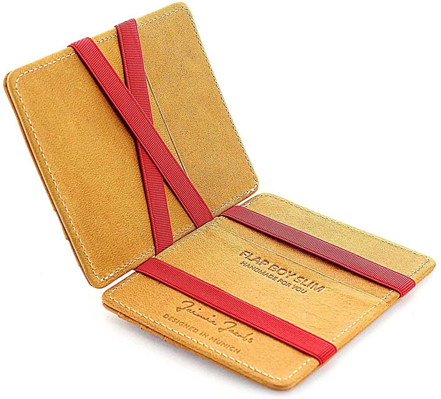 JAIMIE JACOBS ® Magic Wallet Flap Boy Slim - l'Original - Portefeuille Magique, Blocage RFID, Porte Billet, Porte Monnaie Mince Homme, Cuir Vache (Avec Gravure) FBSG