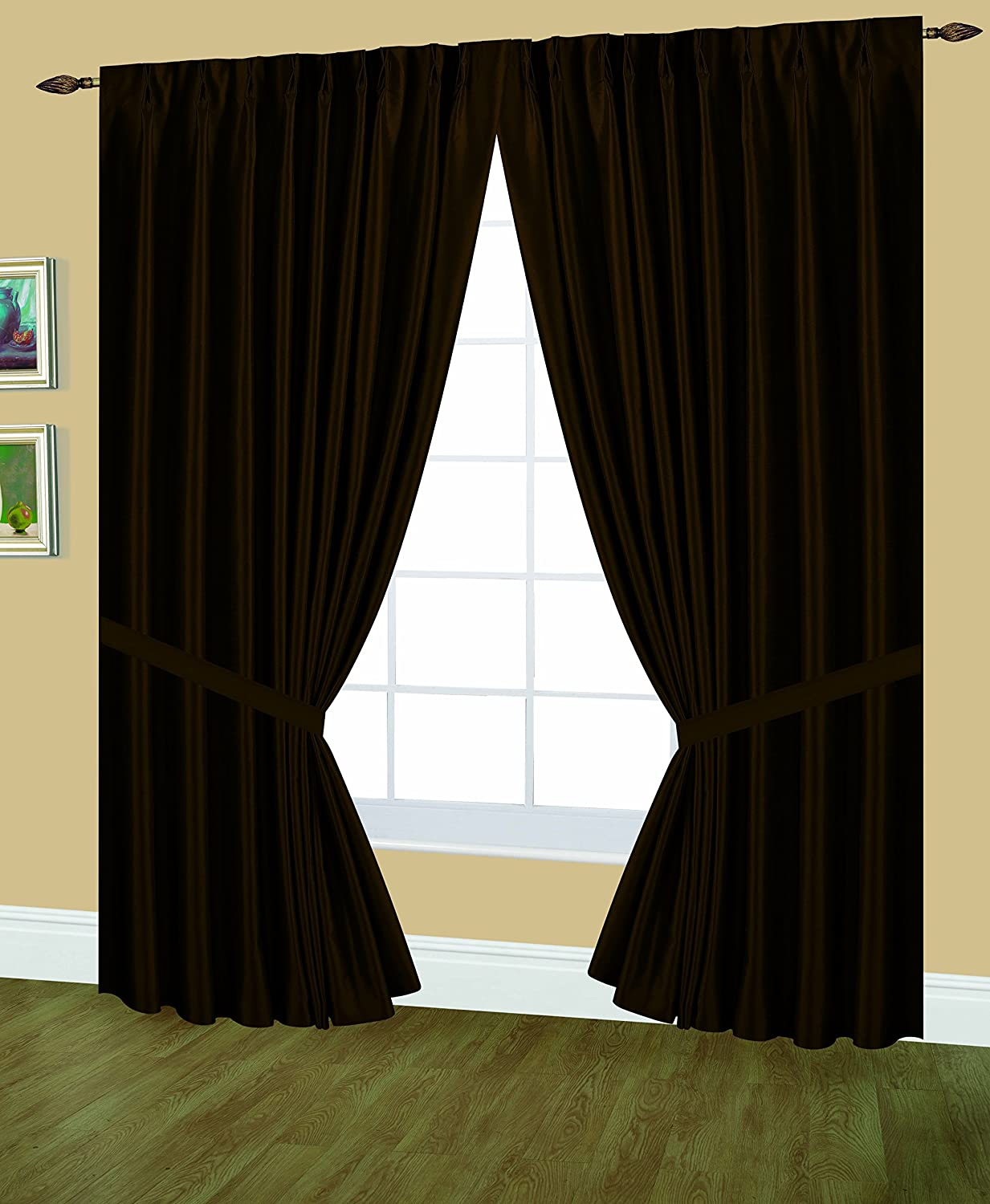 Editex Home Textiles Elaine Lined Pinch Pleated Window Curtain, 48 by 95-Inch, Chocolate