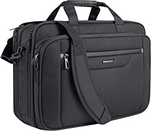 VANKEAN Laptop Bag Laptop Briefcase Fits Up to 18 Inch Laptops XXL Water-Repellent Gaming Computer Bag Messenger Shoulder Bag for Men and Women Expandable Capacity for Travel/ Business/ School- Black